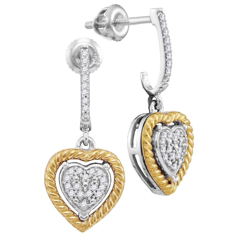 10kt Two-tone Gold Womens Round Diamond Rope Heart Dangle Earrings 1/8 Cttw