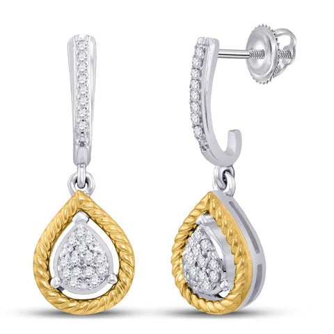 10kt Two-tone Gold Womens Round Diamond Teardrop Dangle Earrings 1/8 Cttw
