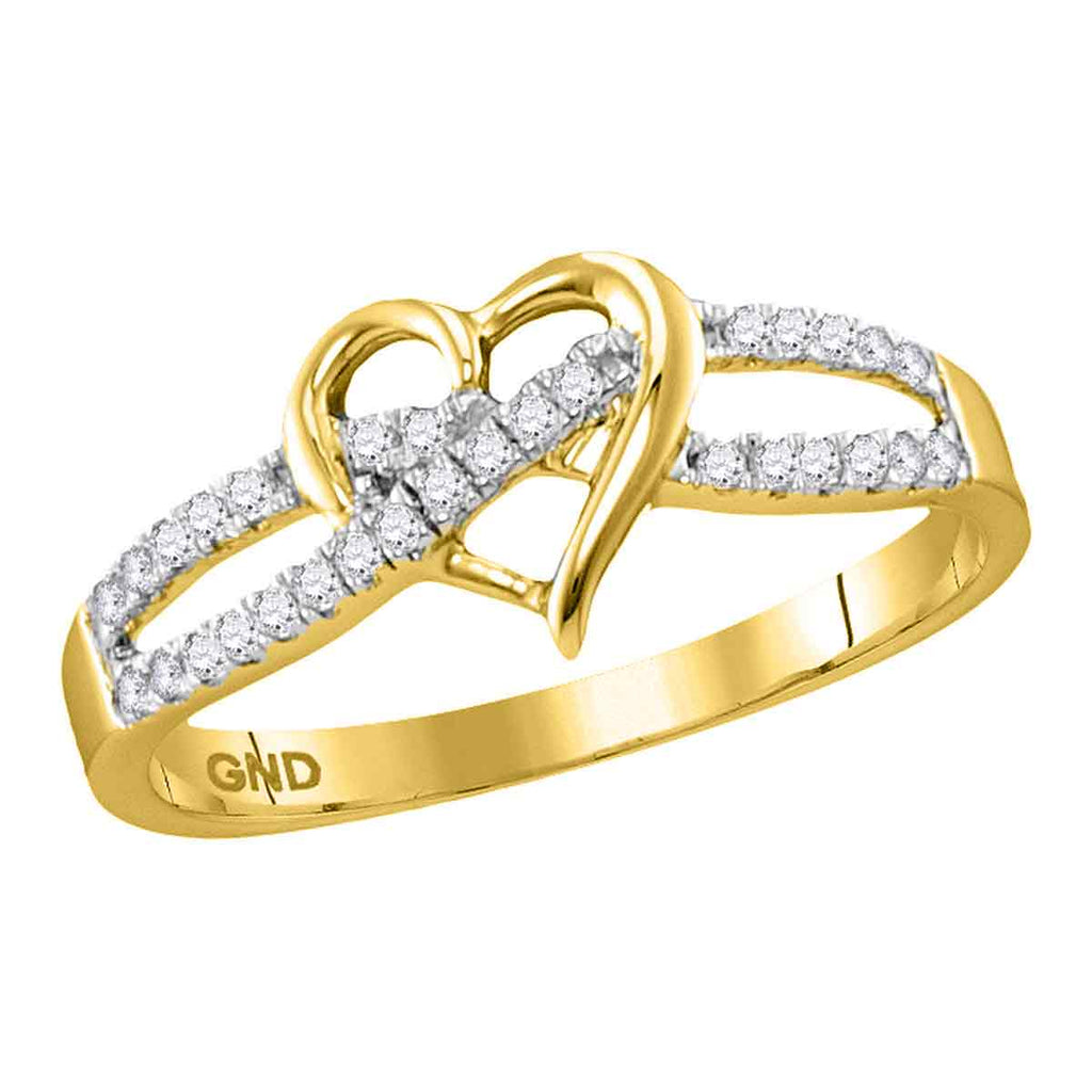 10kt Yellow Gold Womens Round Diamond Woven Heart Love Ring 1/6 Cttw