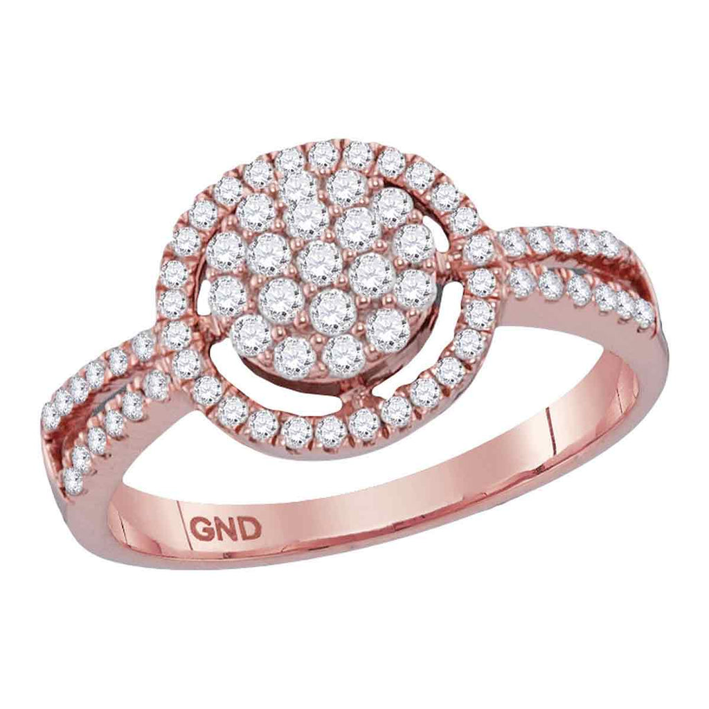 10kt Rose Gold Womens Round Diamond Concentric Circle Cluster Split-shank Ring 1/2 Cttw