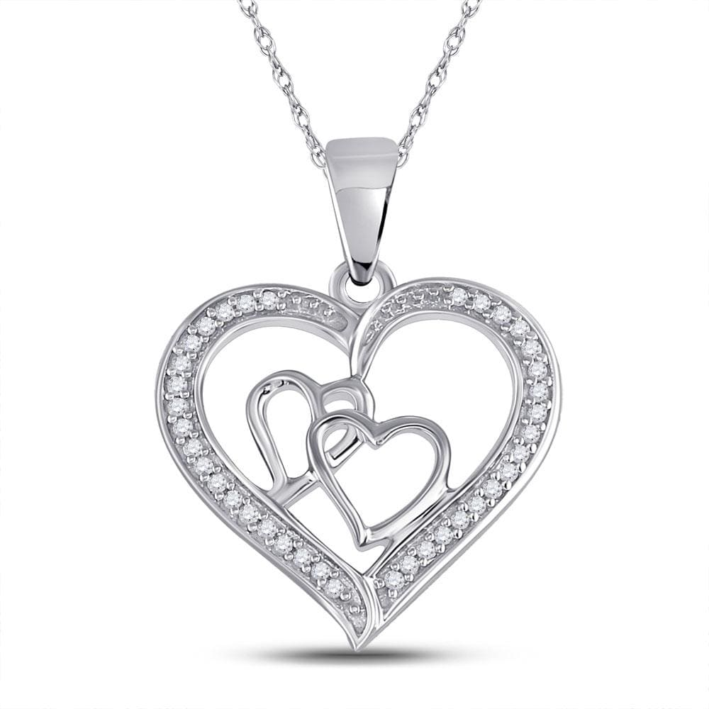 Sterling Silver Womens Round Diamond Triple Heart Outline Pendant 1/8 Cttw