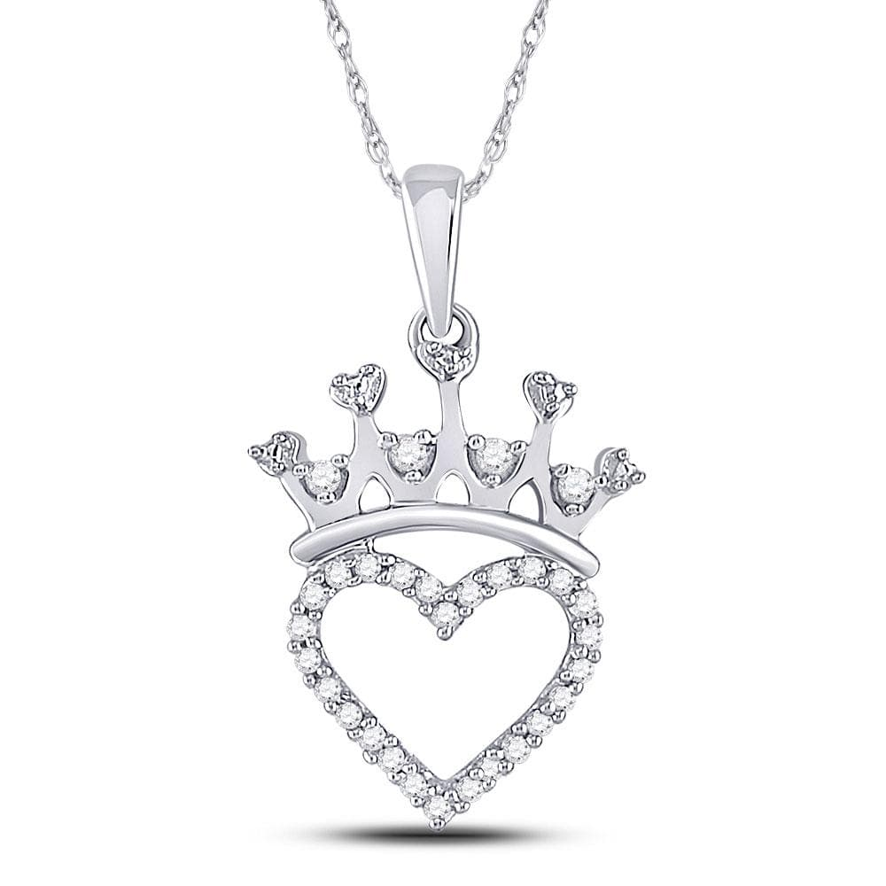 Sterling Silver Womens Round Diamond Heart Love Crown Pendant 5/8 Cttw