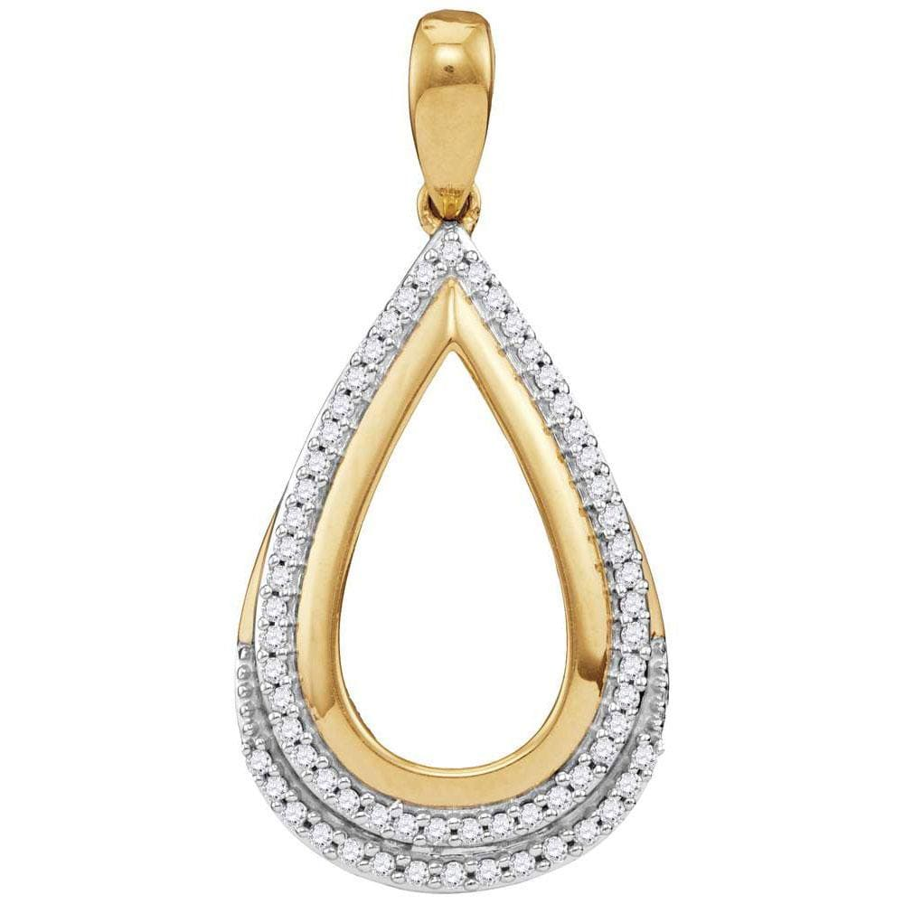 10kt Yellow Gold Womens Round Diamond Teardrop Frame Cutout Pendant 1/6 Cttw