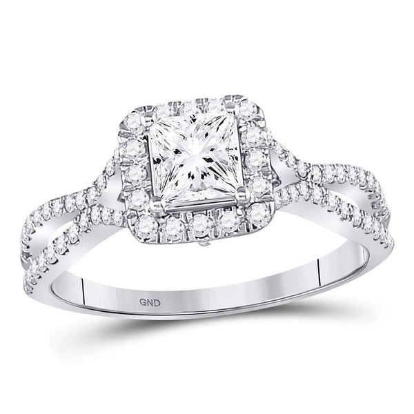 14kt White Gold Womens Princess Diamond Solitaire Bridal Wedding Engagement Ring 1.00 Cttw