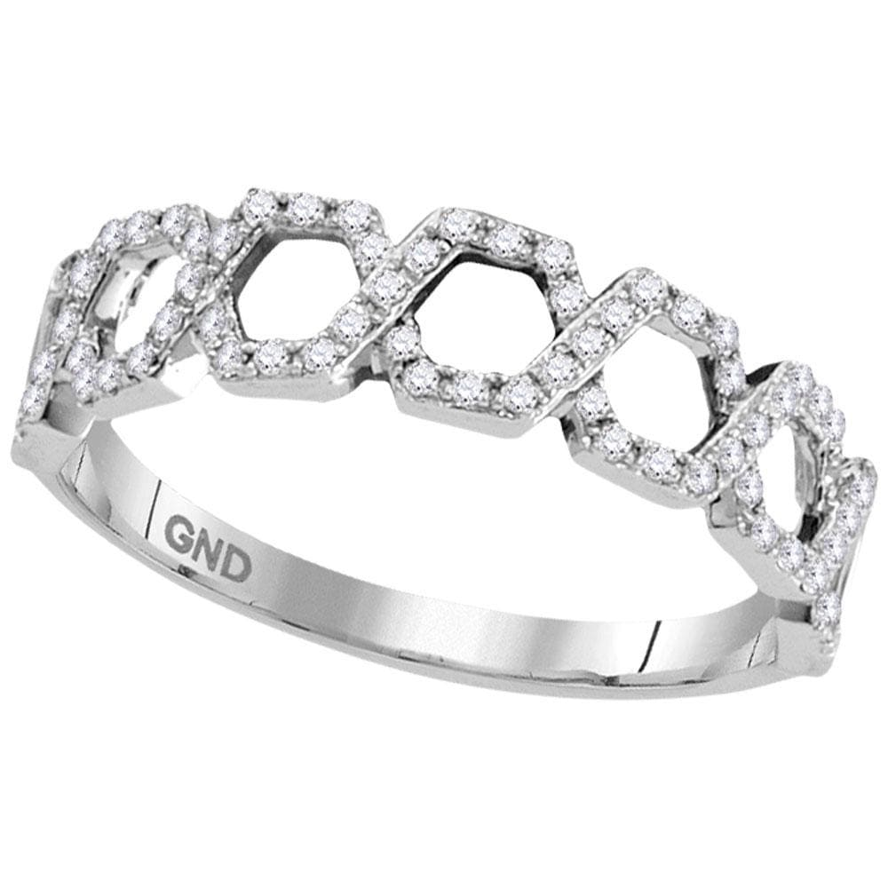 10kt White Gold Womens Round Diamond Polygon Woven Band Ring 1/4 Cttw