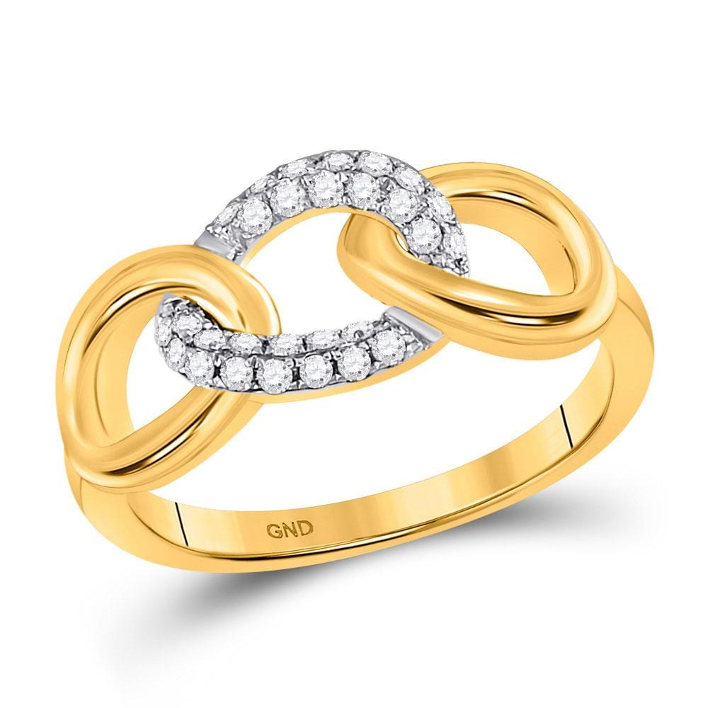 10kt Yellow Gold Womens Round Diamond Linked Oval Ring 1/5 Cttw