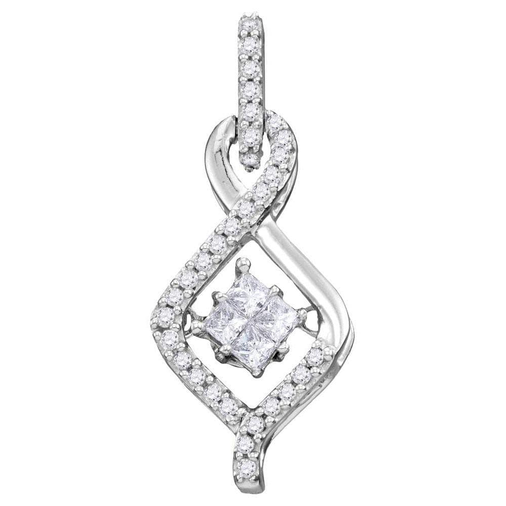 10kt White Gold Womens Princess Diamond Moving Twinkle Cluster Teardrop Pendant 1/5 Cttw