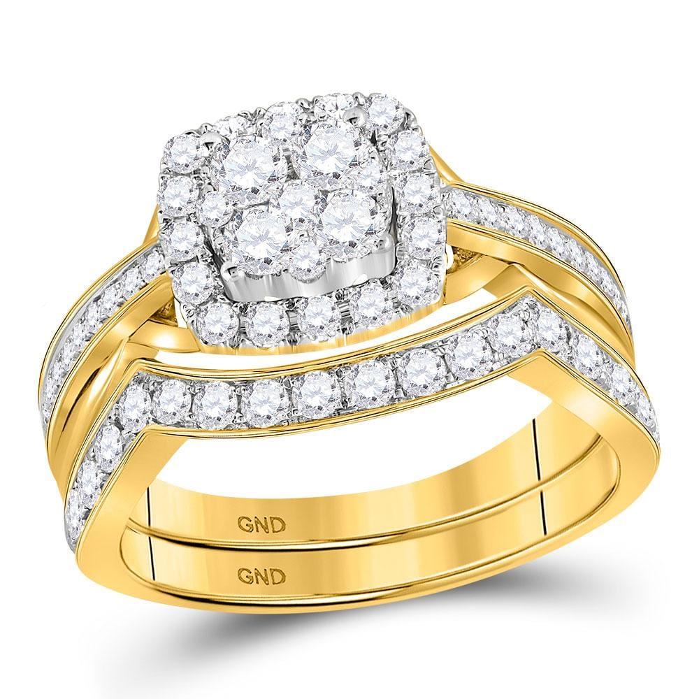 14kt Yellow Gold Round Diamond Cluster Bridal Wedding Ring Band Set 1 Cttw