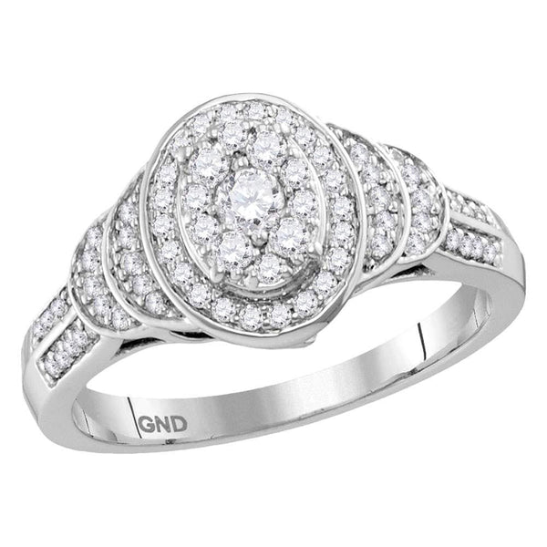 10kt White Gold Womens Round Diamond Solitaire Oval Cluster Ring 1/2 Cttw