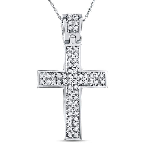Sterling Silver Mens Round Diamond Cross Faith Charm Pendant 1.00 Cttw