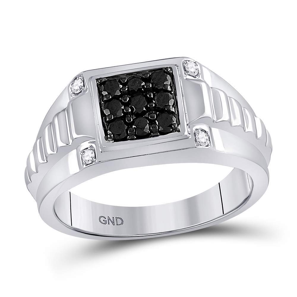 10kt White Gold Mens Round Black Color Enhanced Diamond Square Cluster Ribbed Shank Ring 1/2 Cttw