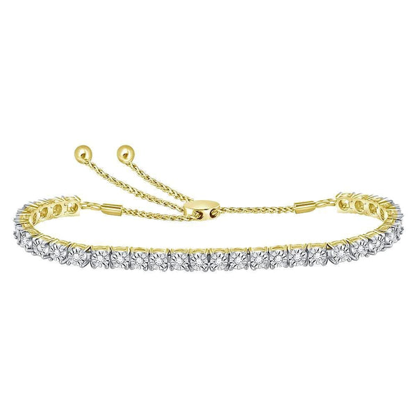 10kt Yellow Gold Womens Round Diamond Studded Bolo Bracelet 1/2 Cttw