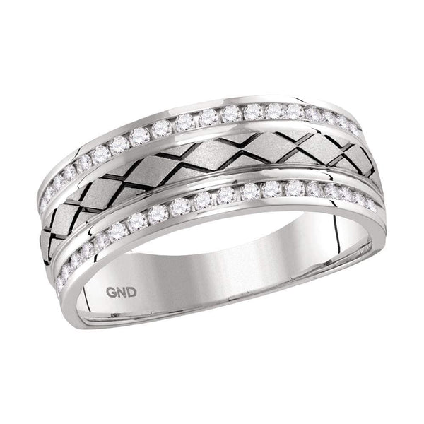 14kt White Gold Mens Round Channel-set Diamond Wedding Band Ring 1/2 Cttw