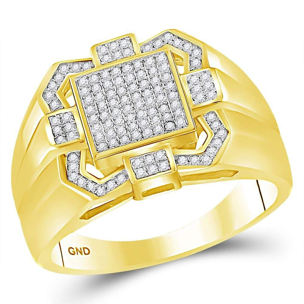 10kt Yellow Gold Mens Round Diamond Square Cluster Ring 3/8 Cttw
