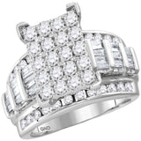 10kt White Gold Womens Round Diamond Cindys Dream Cluster Bridal Wedding Engagement Ring 2.00 Cttw - Size 5