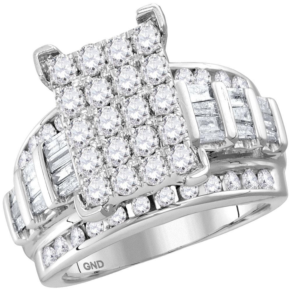 10kt White Gold Womens Round Diamond Cindys Dream Cluster Bridal Wedding Engagement Ring 2.00 Cttw - Size 6