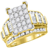10kt Yellow Gold Womens Round Diamond Cindys Dream Cluster Bridal Wedding Engagement Ring 2.00 Cttw - Size 8