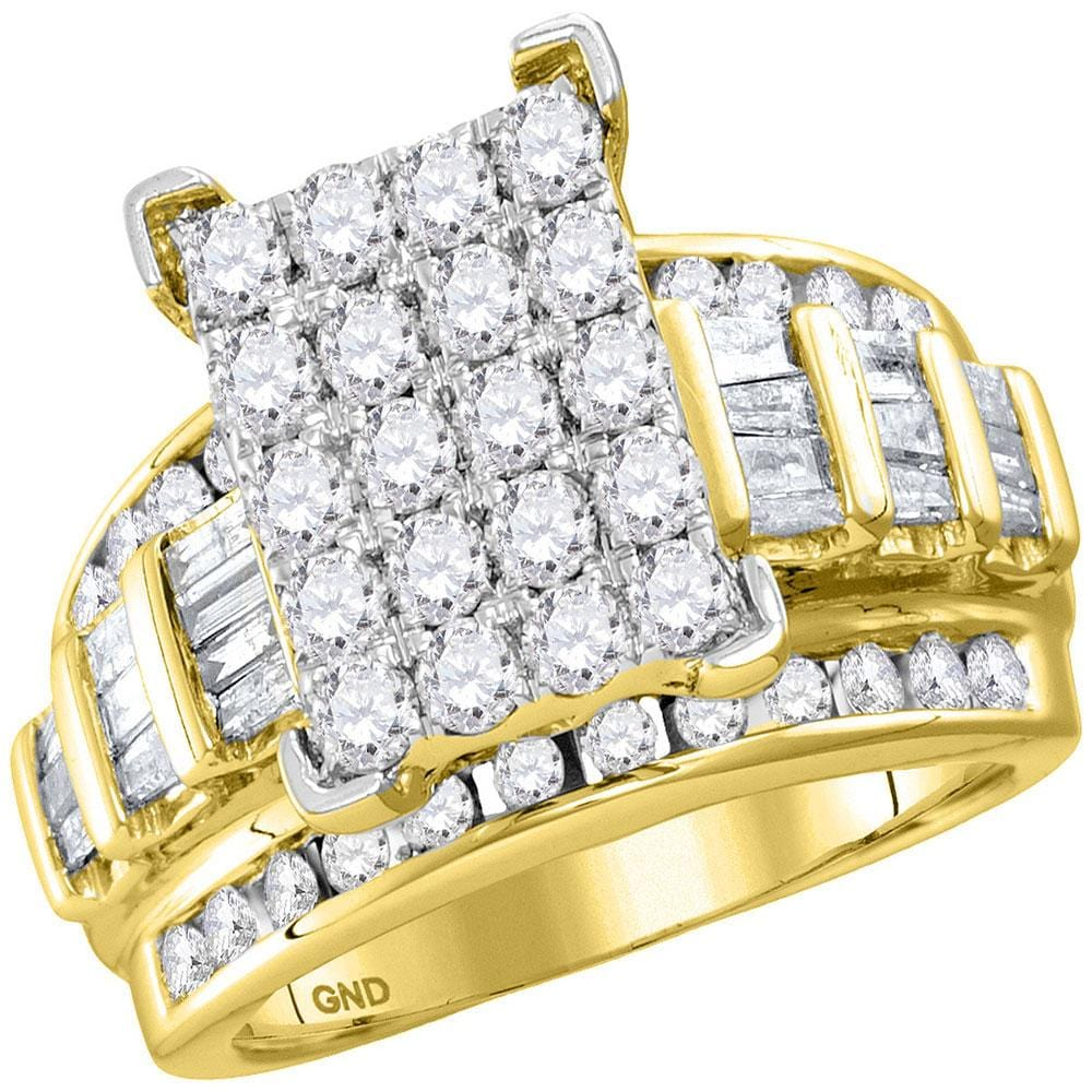 10kt Yellow Gold Round Diamond Bridal Wedding Engagement Ring 2 Cttw Size