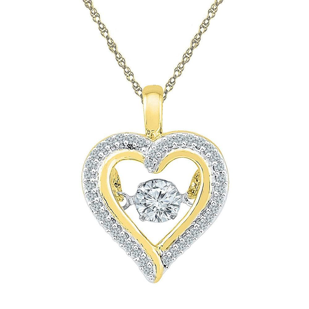 10kt Yellow Gold Womens Round Moving Twinkle Diamond Heart Outline Pendant 1/4 Cttw