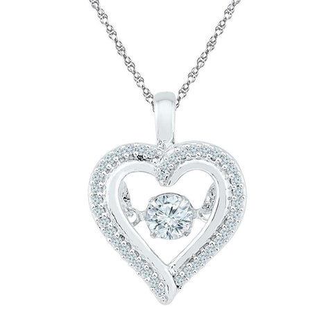 10kt White Gold Womens Round Moving Twinkle Diamond Heart Outline Pendant 1/4 Cttw