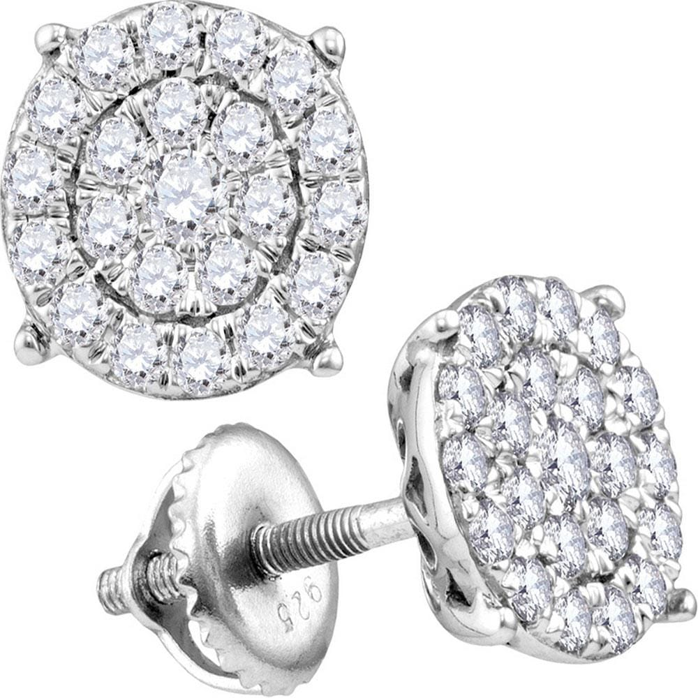 10kt White Gold Womens Round Diamond Cindy's Dream Cluster Earrings 1-1/2 Cttw