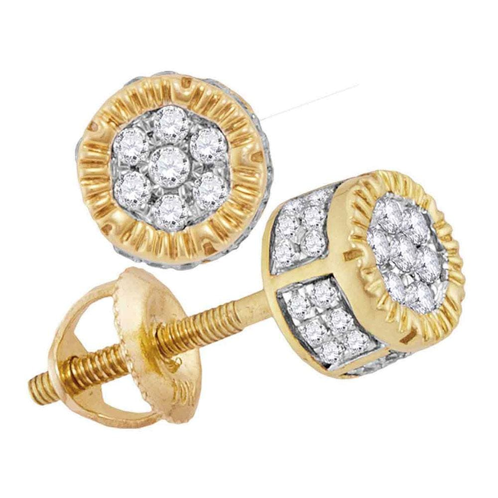 10kt Yellow Gold Mens Round Diamond 3D Circle Cluster Stud Earrings 1/4 Cttw