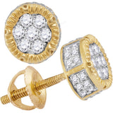 10kt Yellow Gold Mens Round Diamond 3D Circle Cluster Stud Earrings 1/2 Cttw
