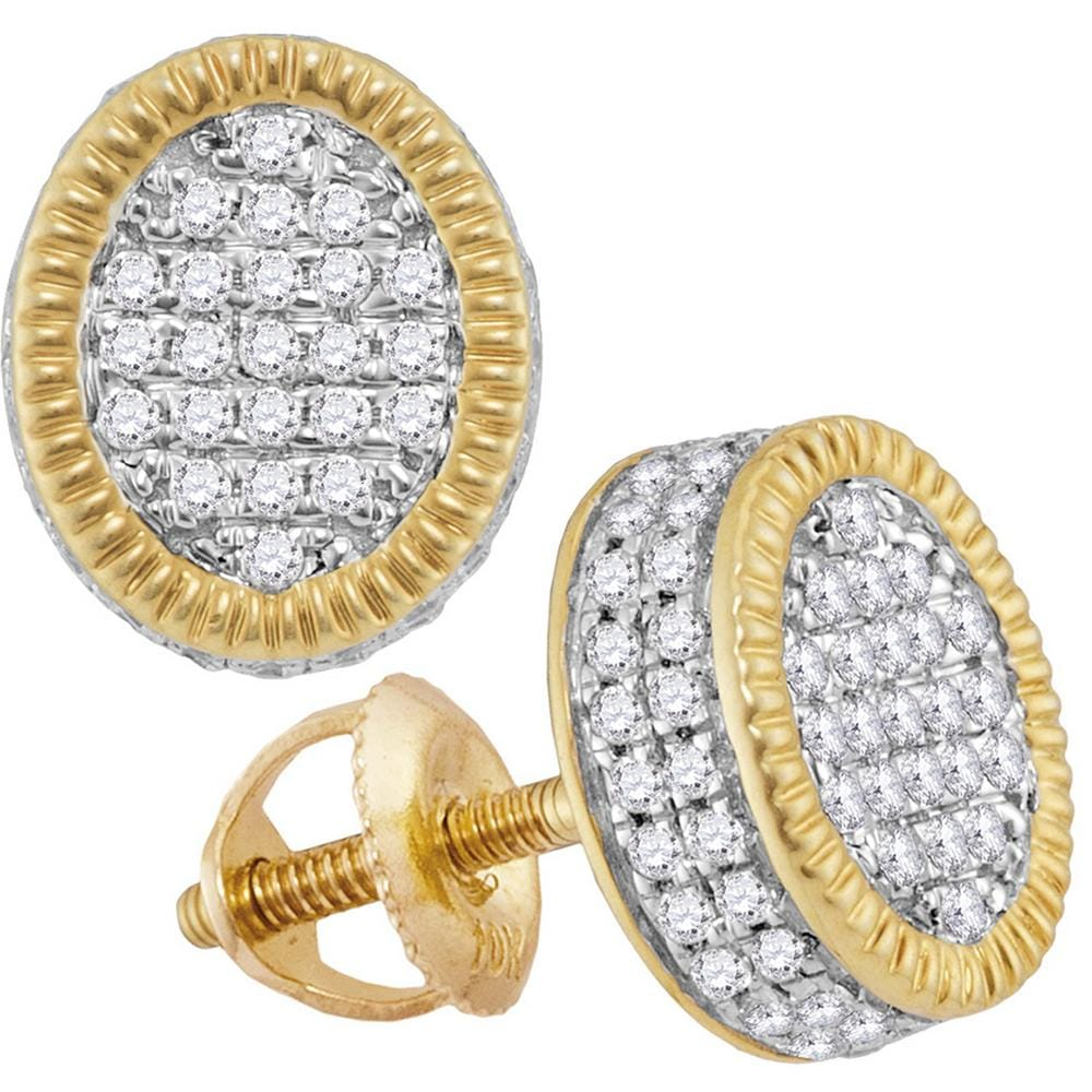 10kt Yellow Gold Mens Round Diamond Fluted Oval Cluster Stud Earrings 5/8 Cttw