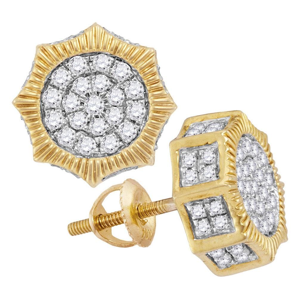 10kt Yellow Gold Mens Round Diamond Starburst 3D Cluster Stud Earrings 3/4 Cttw