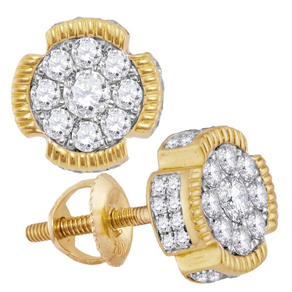 10kt Yellow Gold Mens Round Diamond Fluted Flower Cluster Stud Earrings 5/8 Cttw