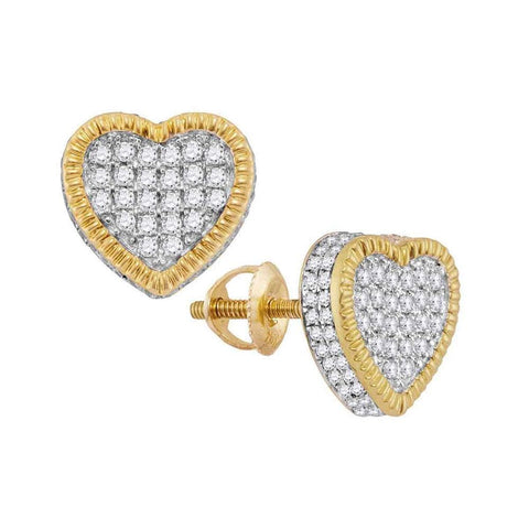 10kt Yellow Gold Womens Round Diamond Heart Fluted Cluster Stud Earrings 3/4 Cttw