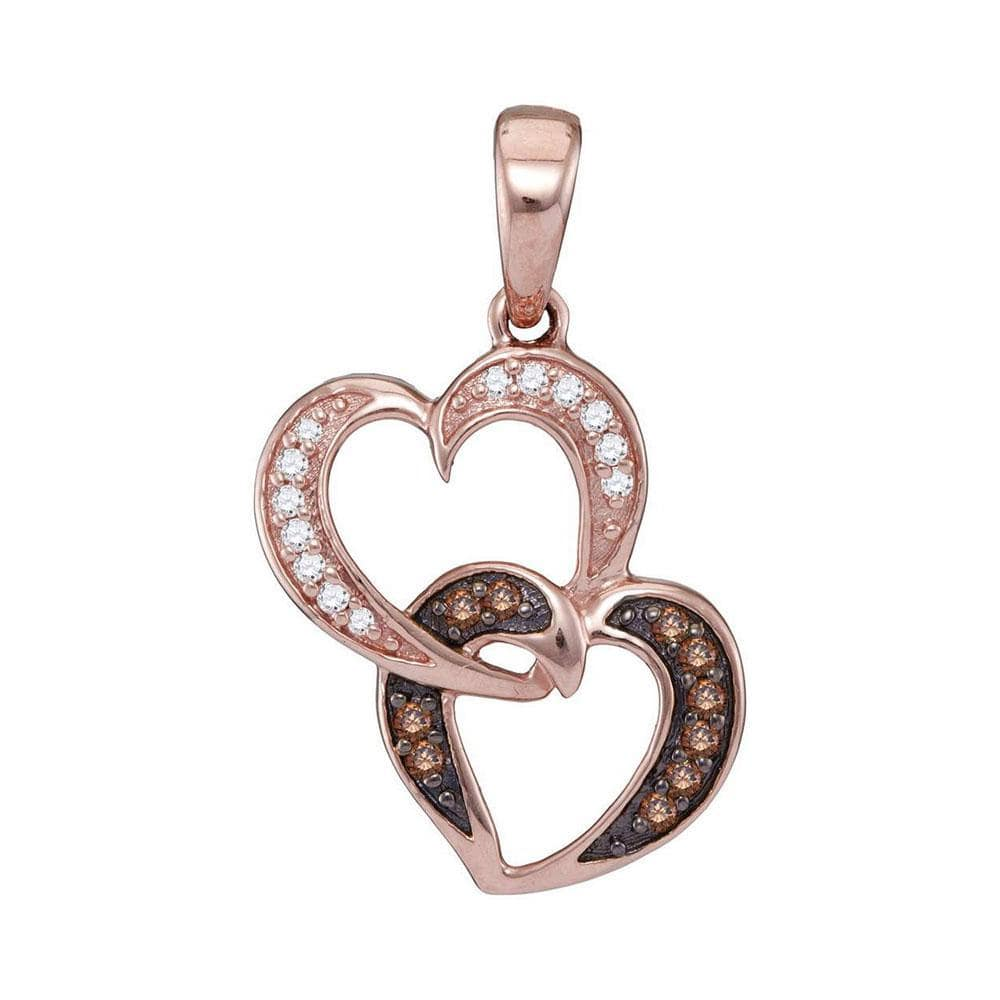 14K Rose Gold Womens Cognac Brown Color Enhanced Diamond Heart Love Charm Pendant 1/8 Cttw
