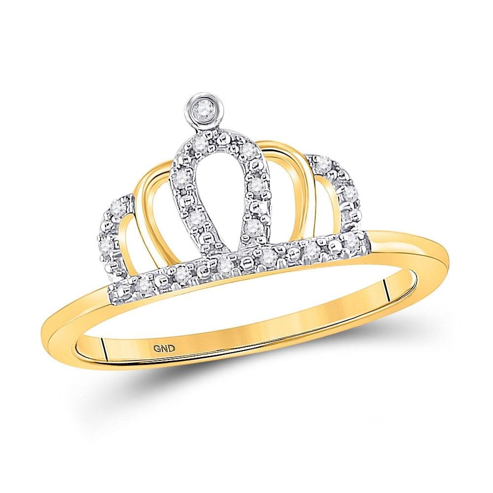 10kt Yellow Gold Womens Round Diamond Crown Tiara Princess Band Ring 1/20 Cttw