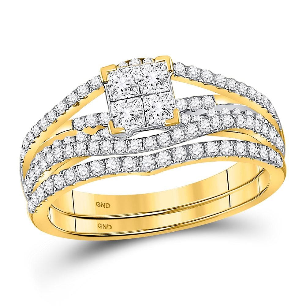 10kt Yellow Gold Womens Princess Diamond Elevated Bridal Wedding Engagement Ring Band Set 1.00 Cttw
