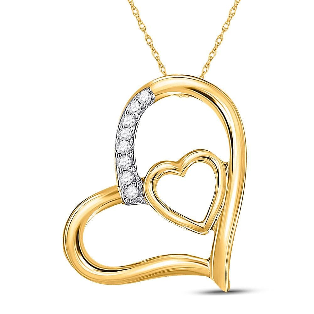 10kt Yellow Gold Womens Round Diamond Nested Heart Pendant 1/20 Cttw
