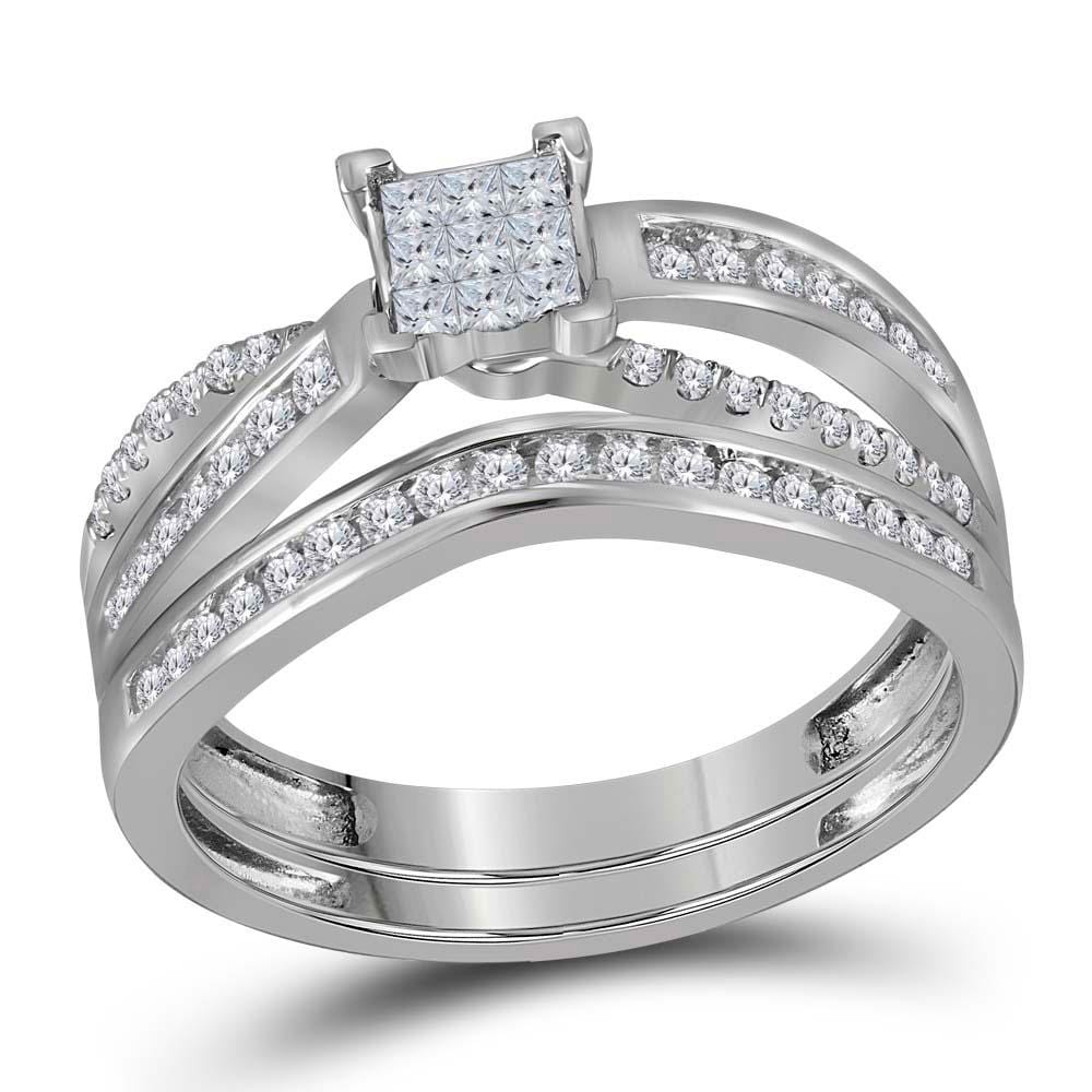 14kt White Gold Womens Princess Diamond Bridal Wedding Engagement Ring Band Set 1/2 Cttw