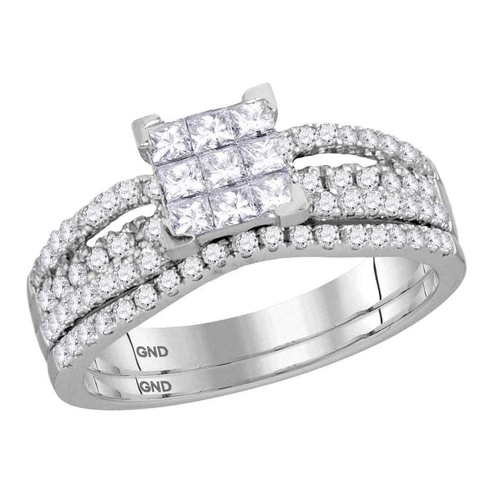 14kt White Gold Womens Princess Diamond Cluster Bridal Wedding Engagement Ring Band Set 1.00 Cttw