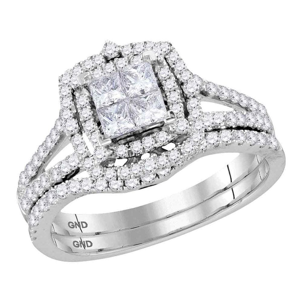 14kt White Gold Princess Diamond Halo Bridal Wedding Ring Band Set 1 Cttw