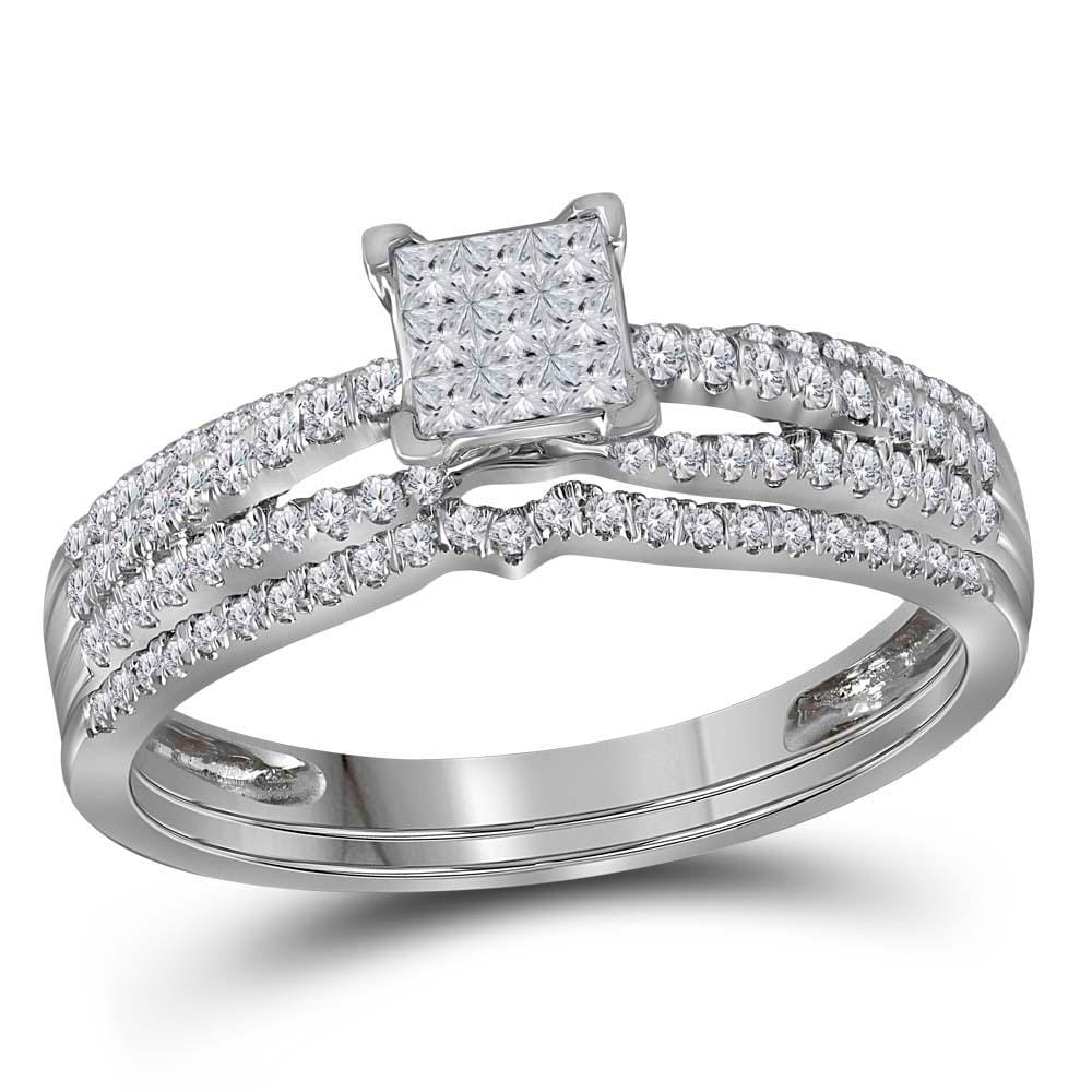 14kt White Gold Womens Princess Diamond Cluster Bridal Wedding Engagement Ring Band Set 1/2 Cttw