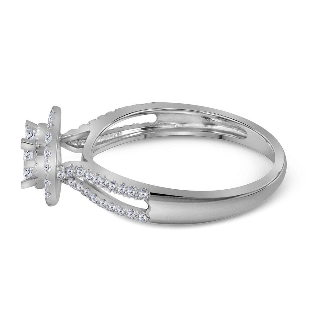 14kt White Gold Womens Princess Diamond Cluster Fashion Ring 1/2 Cttw
