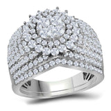 14kt White Gold Round Diamond Cluster Bridal Wedding Ring Band Set 2 Cttw