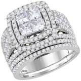 14kt White Gold Womens Princess Diamond Cluster Halo Bridal Wedding Engagement Ring Band Set 3.00 Cttw
