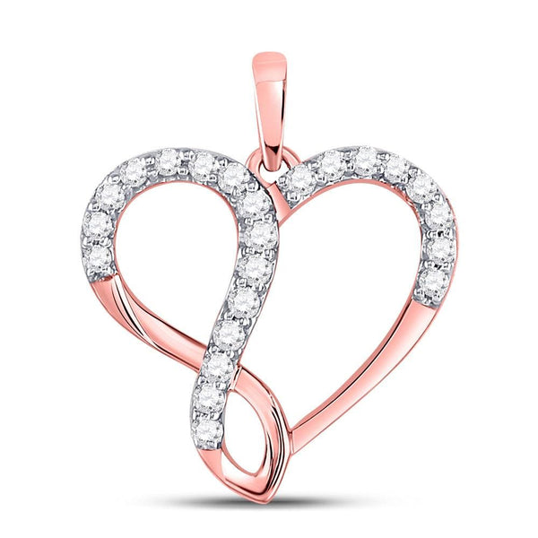 10kt Rose Gold Womens Round Diamond Heart Infinity Pendant 3/8 Cttw
