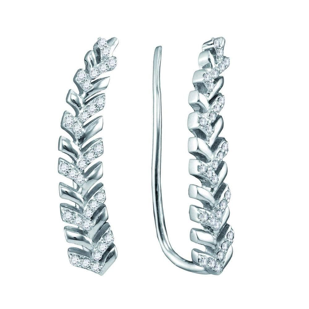 10kt White Gold Womens Round Diamond Tapered Leaf Climber Earrings 1/5 Cttw