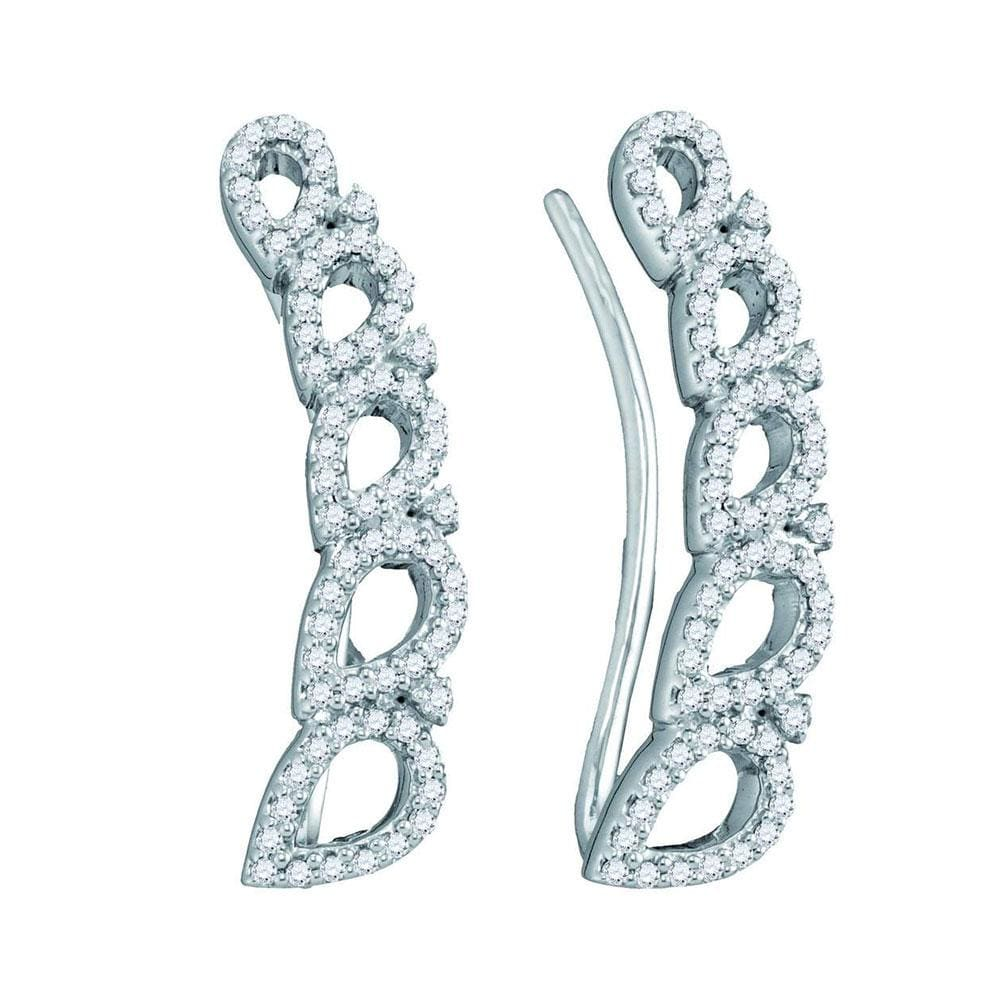 10kt White Gold Womens Round Diamond Curved Teardrop Climber Earrings 1/3 Cttw