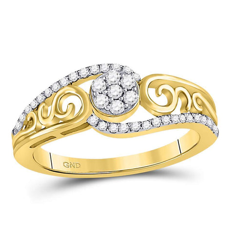 10kt Yellow Gold Womens Round Diamond Flower Cluster Scroll Curl Ring 1/4 Cttw