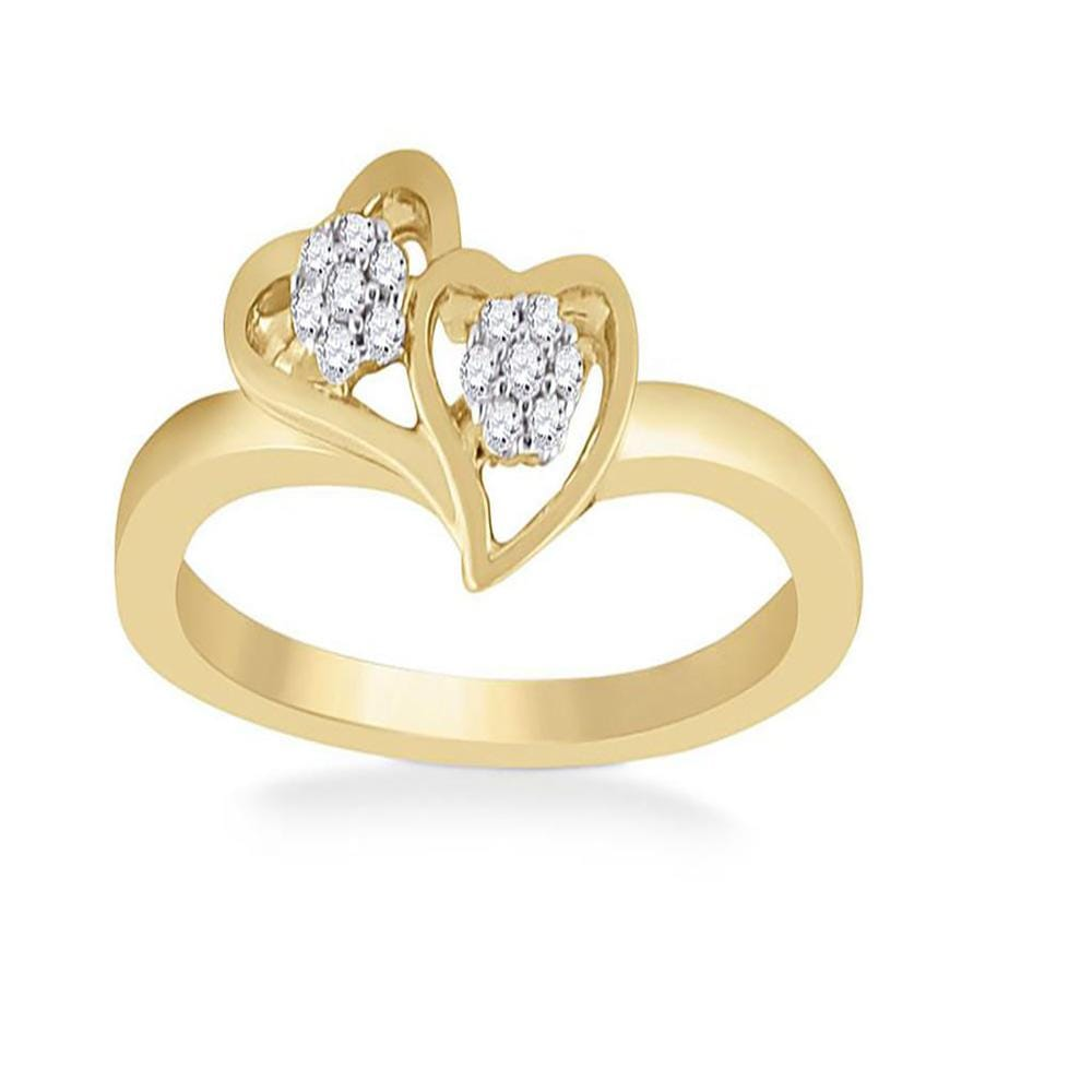 10kt Yellow Gold Womens Round Diamond Double Heart Ring 1/10 Cttw