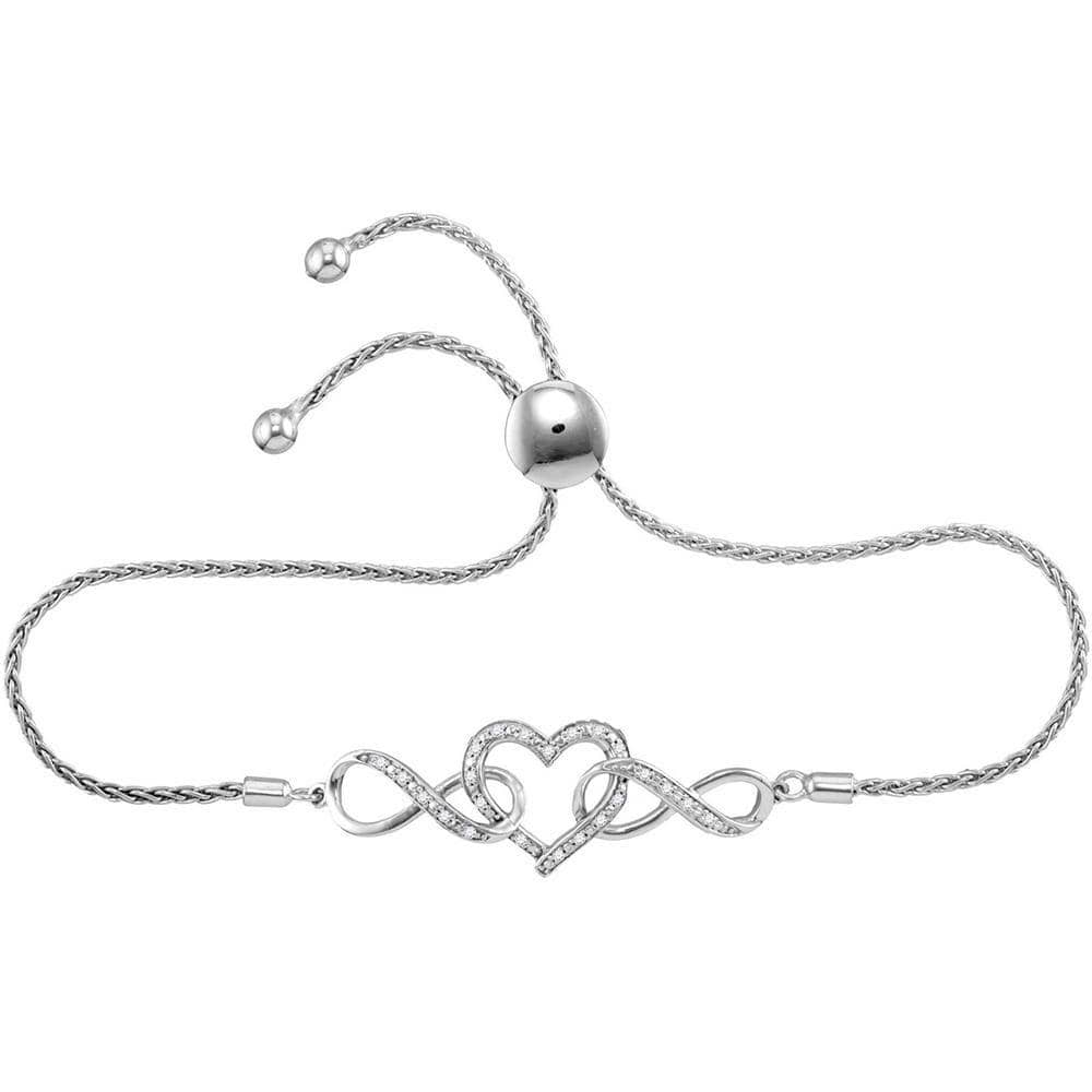 Sterling Silver Womens Round Diamond Infinity Heart Bolo Bracelet 1/6 Cttw