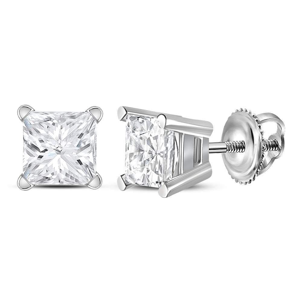 14kt White Gold Unisex Princess Diamond Solitaire Stud Earrings 1.00 Cttw