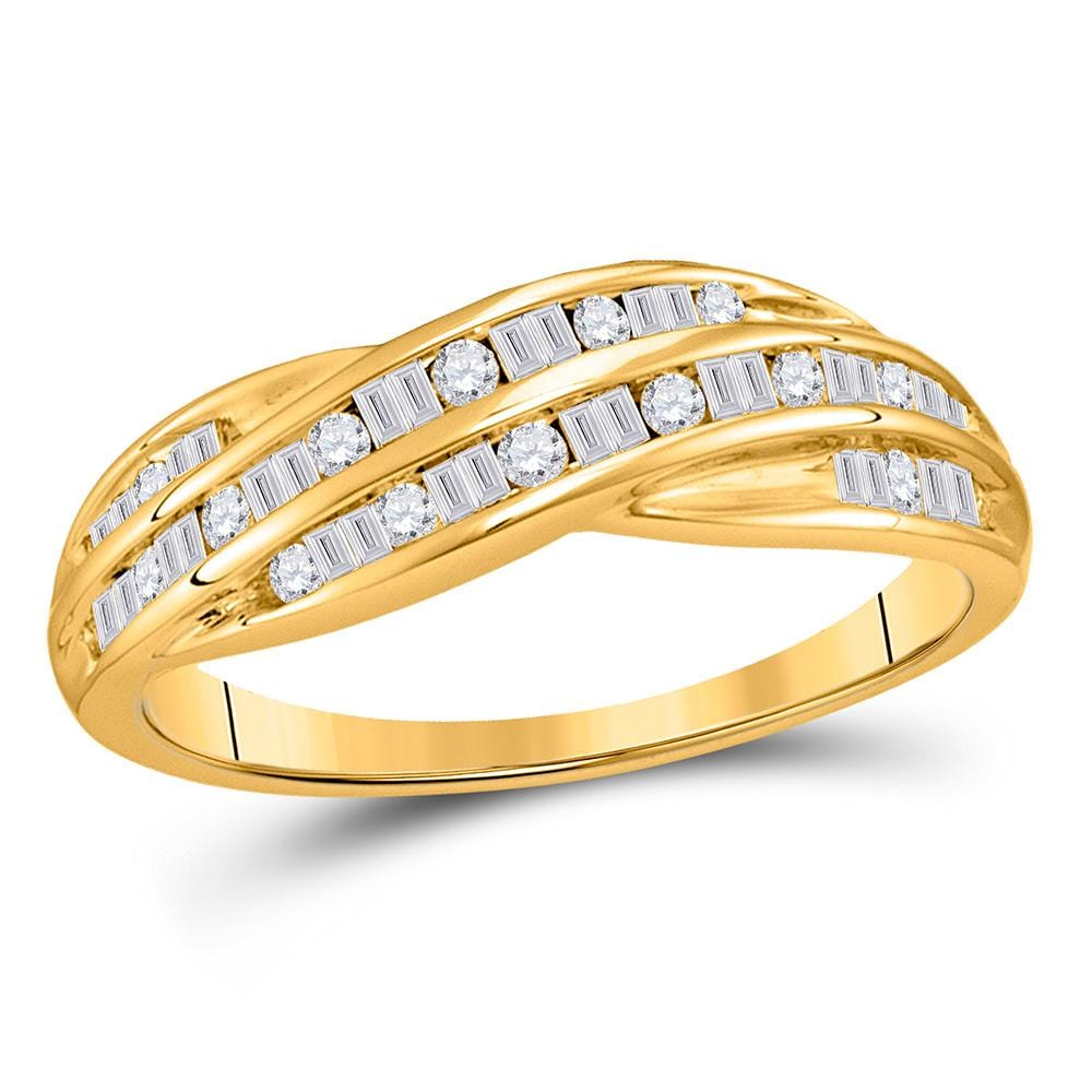 10kt Yellow Gold Womens Baguette Diamond Band Ring 1/3 Cttw